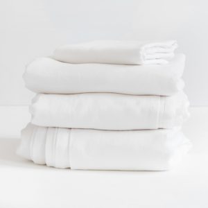 Fitted Sheet 100% Linen - White