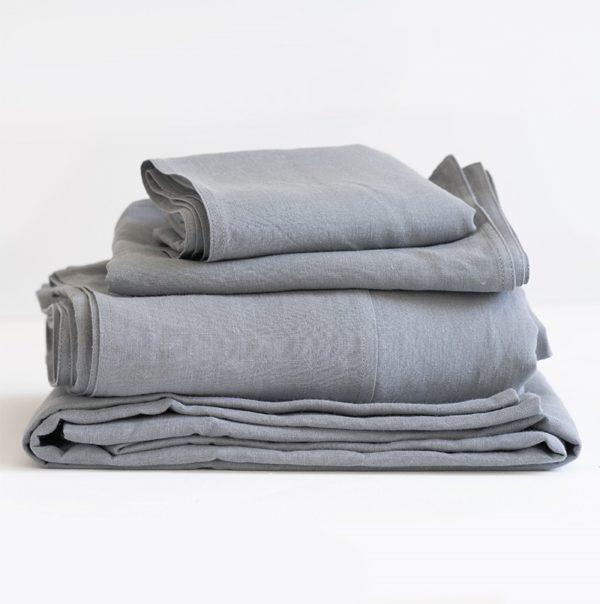 Flat Sheet 100% Linen - Fumo Grey